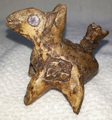 Pre-Columbian Chimu Bone carved Lime Container Lama