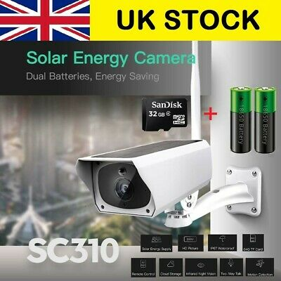 UK Solar IP Security Camera WiFi Wireless 1080P Outdoor PIR Motion Sensor IP67