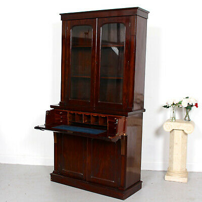 Antique Victorian Secretaire Bureau Bookcase Mahogany Glazed Secretary Desk