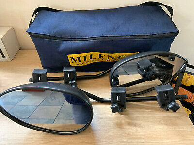 **Pair Milenco Aero Mk 3 Mirrors With Bag, Flat Glass**