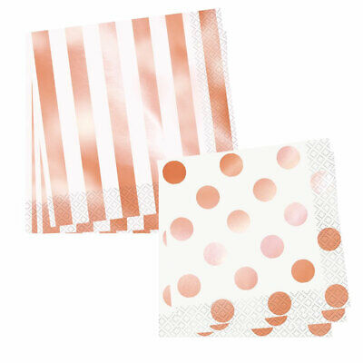Rose Gold Pack Of 16 Party Napkins 2 Ply Tableware New Gift