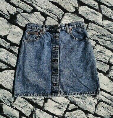 Vintage 80s 90s high waisted Calvin Klein CK blue denim button up mini skirt S