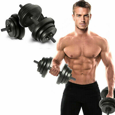 Dumbells Set 20kg Adjustable Free Weights Bar Spinlock Vinyl Fitness Mens Dumbel