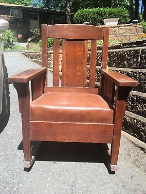 MISSION OAK rocking chair with leather seat  STICKLEY ERA
