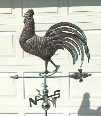 X LARGE 3D ROOSTER Functional Weathervane AGED COPPER FINISH Cupola COMPLETE New