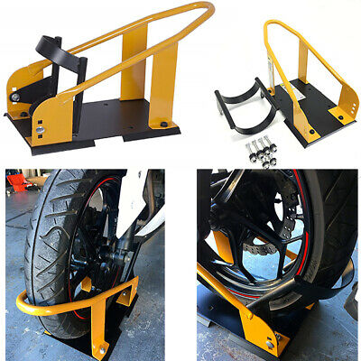 Adjustable Motorcycle Wheel Chock Stand Trailer Tire Lock Transport Mount Sturdy