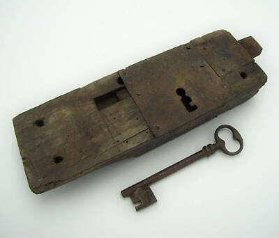 Antique Large Oak and Iron Door Lock With KEY