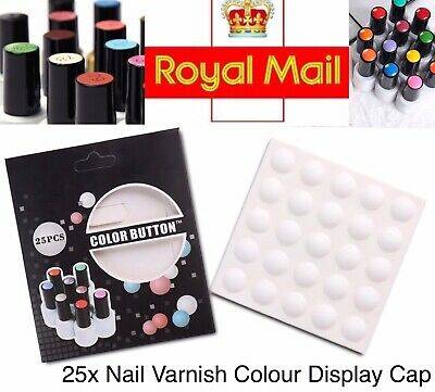 Nail Colour Display Sticker Cap 25x Bottle Top Polish Varnish Identifier Buttons