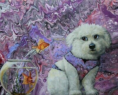 Abstract acrylic painting w/ Dog & fish original by Joy Campbell