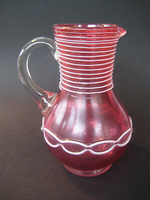 Antiker Glaskrug Glas Kanne Karaffe Antique Glass Spiralfaden Abriss ~1900