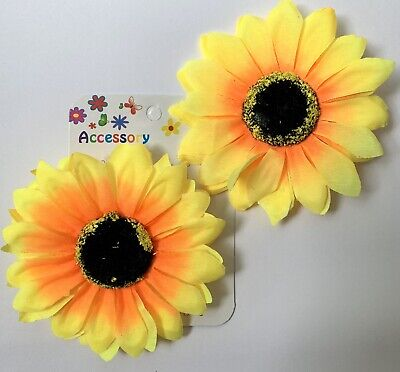 """Large 4"""" Yellow Sunflower Hair Clip Pin Up Realistic Flower Rockabilly Wedding"""