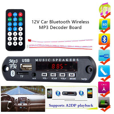 12V Wireless Bluetooth MP3 WMA Decoder Board Audio Module USB TF Radio Fit Car