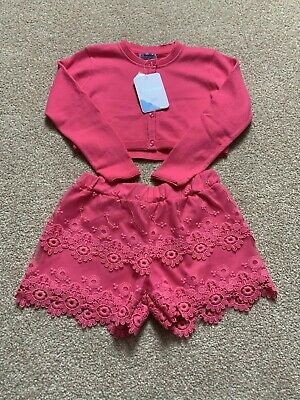 Girls Mayoral Summer Hot Pink Cardigan And Lace  Shorts Set Age 4-5 Years
