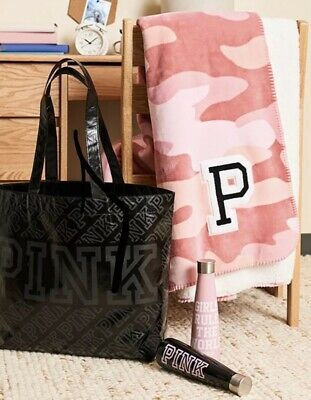 Victorias Secret PINK SHERPA BLANKET + BAG + SIP by SWELL WATER BOTTLE - NWT