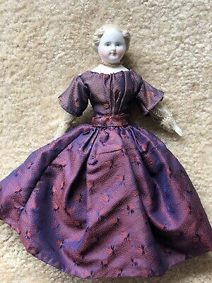 """Early Antique 8"""" German Parian Blonde Hair China Doll Original Dress and Slip"""