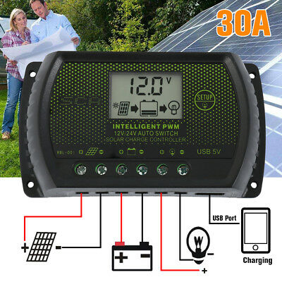 LCD Solar Panel Battery Regulator Charge Controller Dual USB 30A 12V/24V yc