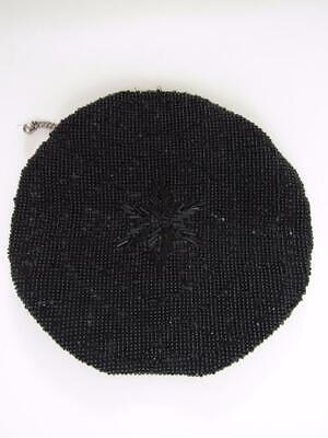 Vintage 1940's Round Jet Black Glass Beaded Czech Belt Loop Purse Flower