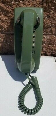 Vintage WESTERN ELECTRIC 2554B Avocado GREEN Push Button Dial Wall Telephone