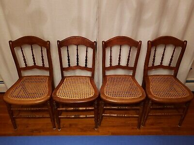 Set of  4 antique wooden caned-seat dining chairs (side chairs)