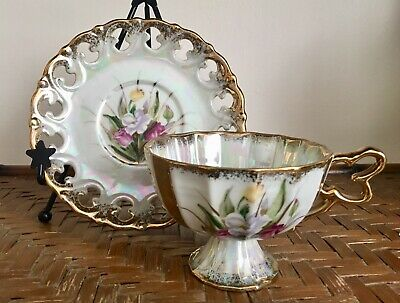 Vintage Japanese Opal Lustreware Reticulated Fine China Tea Cup & Saucer