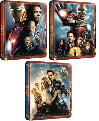 IRON MAN 1, 2 + 3 : 4K UHD + BLU RAY 3 x STEELBOOK SET - UK EXCLUSIVE PRE-ORDER