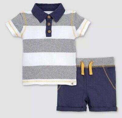 NEW WITH TAGS Burt's Bees Baby Boys Organic Cotton Polo & Shorts Set - 12 months