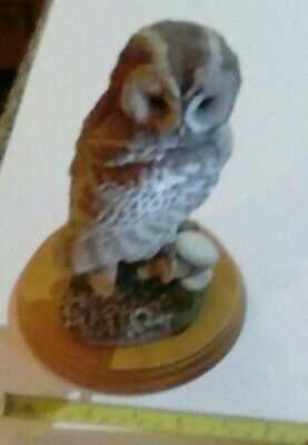 Bird Figurine,  Tawny Owl & Fungi1998.by Russell Willis 484431 Border Fine Arts.