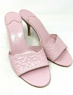 Authentic CHANEL Coco Mark Camellia Sandals Women's #37.5C Light Pink Rank AB