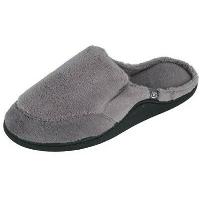 Isotoner A9B935 Black Houndstooth Reese Closed Back Velour Fleece Lined Slippers