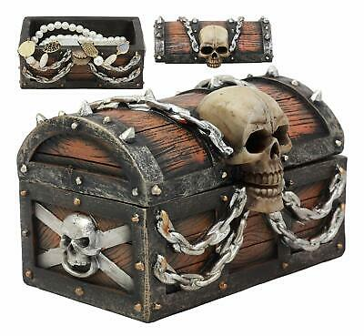 "Ebros Skull On Pirate Treasure Chest Jewelry Box With Hidden Compartment 6""Wide"