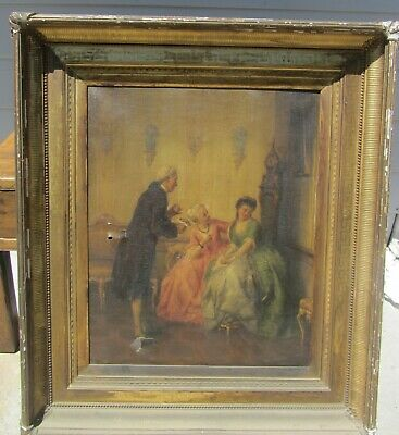 Exceptional Large Early American Oil Painting 18Th Century Courting Scene Framed