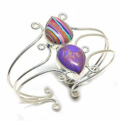 Rainbow Calsilica With Turquoise Handmade Silver Plated Cuff Bracelet Adst.