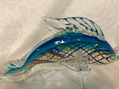 """Large Vintage Sommerso Submerged Murano Art Glass Whale Paperweight 10 1/2"""""""