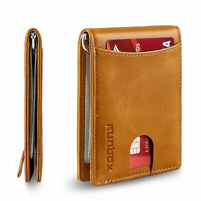 Mens Front Pocket Money Clip Wallet RFID Blocking, Slim Minimalist Bifold Brown