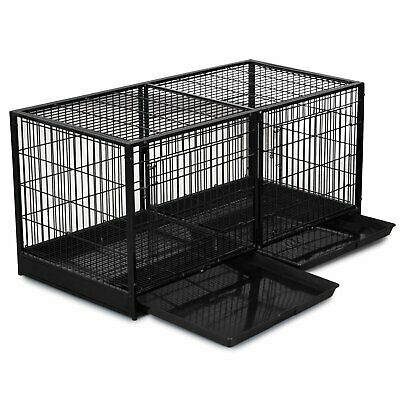 Stackable Pet Dog Modular Cage Kennel Steel Divider Plastic Tray Black Puppy