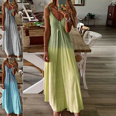 Ladies Dress Summer V-Neck Boho Fashion Holiday Dress Casual Long Sexy