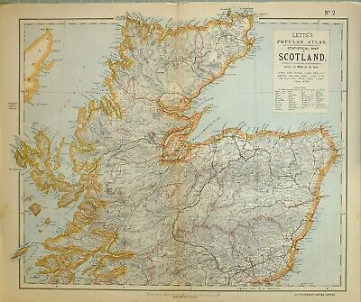 1883 Letts Map Northern Scotland Aberdeen Sutherland Caithness Inverness Banff