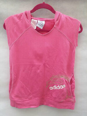 Junior ADIDAS Pink pullover Sports Vest Hooded Stretchy Size 14yrs 32-34""