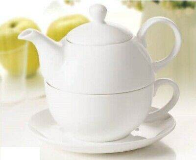 Classic 3Pc Tea For One Set Teapot Coffee Tea Pot Bone China White