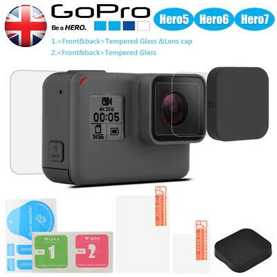 GoPro Hero 7 6 5 Black Tempered Glass Screen Protector Lens Cover Cap UK Seller