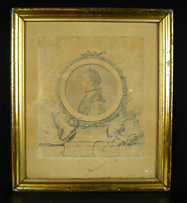 Augustin of Saint-Aubin Profile Mrs. the Guennière c1800 Drawing Original (Orig