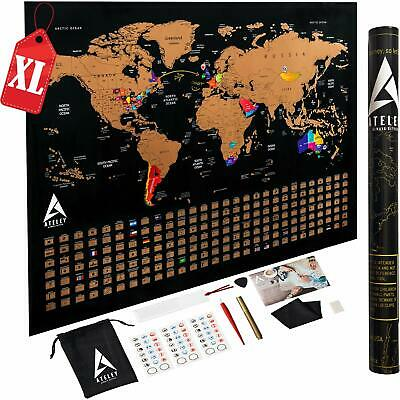 Scratch Off Map Of The World Xl Poster - Us States Outlined - Extra Large Size