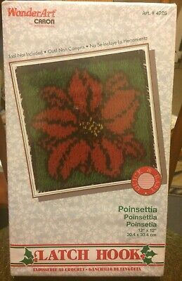 Wonder ArLatch Hook Kit: Poinsettia design. Tool NOT included. Red Flower design