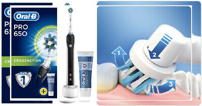 Oral-B Pro 650 Cross Action Electric Toothbrush Rechargeable Powered by...