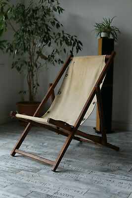 Vintage Retro Wooden Folding Beach Chair with Canvas 1950s