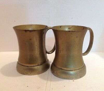 Near Pair Of Victorian Brass Half Pint Measures With Verification Marks