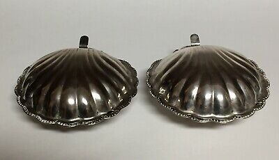 Set of 2 Silverplate Clam Shell Caviar Trays with Glass Inserts 5""