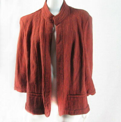 Coldwater Creek Textured Rust Brown Open Front Cotton Jacket 16 T787