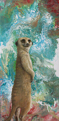 Abstract acrylic painting w/ Meerkat original by Joy Campbell