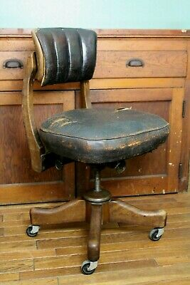 Vintage Wood / Leather Office Desk Study Chair Johnson Chair Co. Adjustable